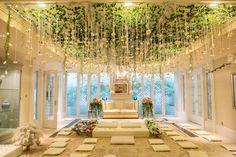 An Indoor Garden Akad Nikah - The Wedding Notebook magazine Rustic Wedding Centerpieces, Wedding Decorations, Wedding Altars, Nikah Ceremony, Wedding Notebook, Akad Nikah, Ceremony Seating, Wedding Background, Wedding Trends