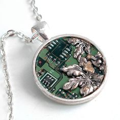 A  unique Circuit Board #Necklace with an Industrial, Techno, Geek, theme.