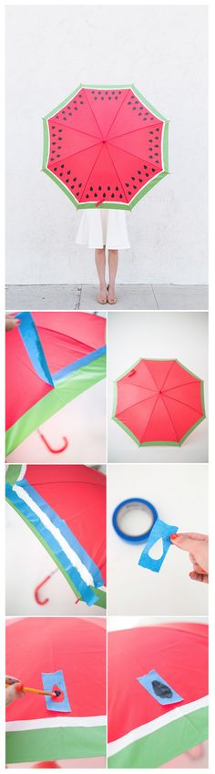 Make a watermelon umbrella #DIY