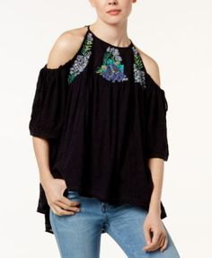 FREE PEOPLE Free People Fast Times Embroidered Cold-Shoulder Top. #freepeople #cloth # tops