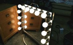 Vintage Hollywood Theater Lighted Dressing Room Makeup Vanity Mirror Custom Made