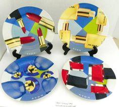 AVON Rep Vintage Ceramic Set 4 Different Collectors Dessert Plates RARE HTF VGC #DessertPlates