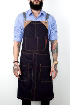Cross-Back Apron - Coated Matte Black - Split-Leg - Black Real Leather - Wax-Like-Sheen - laughing saving money Cool Aprons, Aprons For Men, Shop Apron, Black Apron, Split Legs, Leather Apron, Barista, Bartender, Matte Black