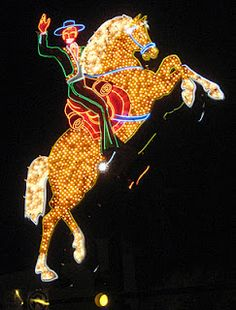 The Hacienda Horse and Rider used to grace the defunct Hacienda Hotel on the Las Vegas Strip. Part of the Neon Museum of the Fremont Street Experience.