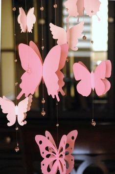 diys to do with friends, decoration made from differently shaped, pink butterfly paper cutouts, tied to thin strings, decorated with tiny clear pink beads Flower Garland Wedding, Flower Garlands, Paper Butterflies, Paper Flowers Diy, Wooden Wind Chimes, Summer Banner, Fleurs Diy, Maila, Paper Crafts