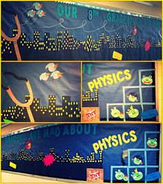 Angry birds bulletin board for forces and motion science unit :)