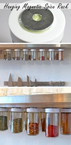Hanging Magnetic Spice Rack - Genius Organization Ideas for Small Kitchens  - Click for Tutorial