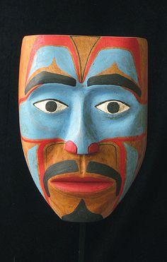 "Portrait Mask-Haida, Alaska.Signed on the back in pencil ""Harris Natkong 1983"".Harris Natkong died in Hydaburg, Alaska on 12/1/1983"