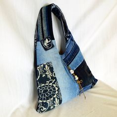 Recycled Old Jeans & Old Handdyed Indigo Fabric Hobo di kazuewest, $99.00