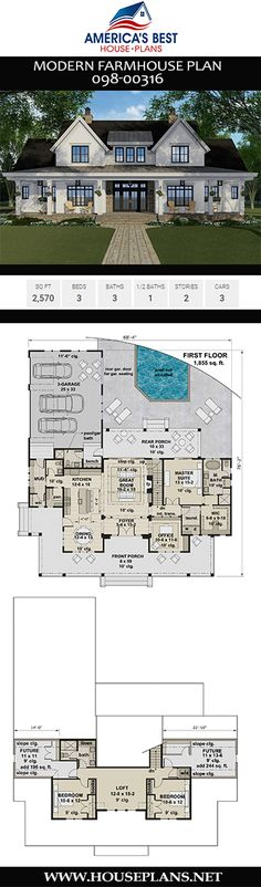 Modern Farmhouse Plan Get acquainted with Modern Farmhouse Plan featuring 2743 sq. 4 bedrooms 4 bathrooms a home office an open floor plan and a 3 car garage. The post Modern Farmhouse Plan appeared first on House ideas. New House Plans, Dream House Plans, House Floor Plans, 2200 Sq Ft House Plans, Dream Home Design, My Dream Home, House Design, The Sims, Modern Farmhouse Plans