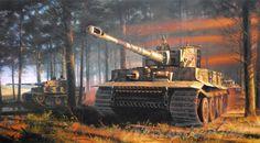 Tigers de la 2ª Compañía SS Panzer Batallón 101 bajo el mando del Obersturmfuhrer Michael Wittmann, cortesía de Nicolas Trudgian. Más en www.elgrancapitan.org/foro/