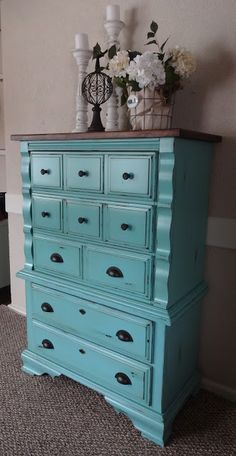Like the idea of staining the top dark and painting the sides. Perfect for our outdated bedroom furniture
