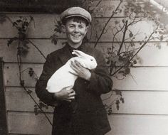 vintage photo Happy Easter Boy with his Bunny greeting card. $6.50, via Etsy.