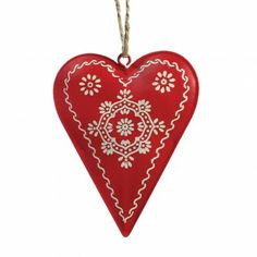 Scandinavian Christmas Folkart Heart Decoration by Lesliemarch Scandinavian Christmas Ornaments, Norwegian Christmas, Danish Christmas, London Christmas, Nordic Christmas, Christmas Sale, Christmas Holidays, Christmas Crafts, White Christmas