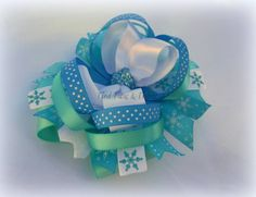Snowflake winter wonderland stacked boutique bow by TiedTutusAndThings on Etsy