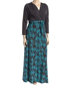 Loving this Black & Teal Geometric Surplice Maxi Dress - Plus on #zulily! #zulilyfinds