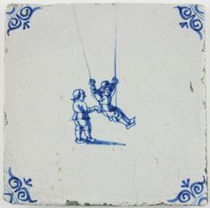 Antique Dutch Delft tile in blue with children playing on a swing, 17th century