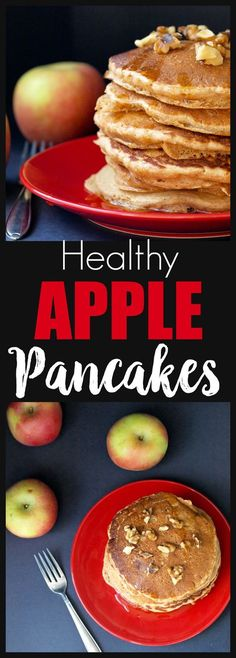 Healthy Apple Pancakes are the best weekend breakfast! Easy, healthy recipe, whole grains and kid-friendly. You can make a big batch and put them in the freezer!