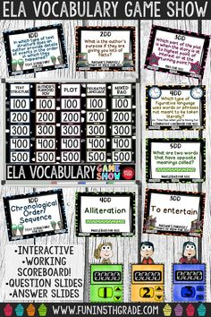 Use this interactive ELA vocabulary game show to review key reading test vocabulary in a fun way! Great extra practice activity before a test! Super engaging! Perfect for any grade 3 and up who need to review reading vocabulary!