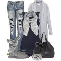 Ripped jeans, gray sweater, navy tank & Bearpaws.