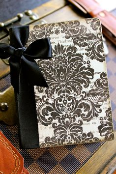 ribbon bound edge - altered composition book for gratitude journal