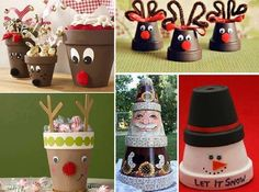 Adorable Christmas decorations made out of pots