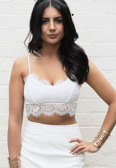 Eyelash Lace Strappy Bralet in White