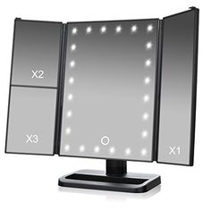 Features: 24 Bright LEDs, touch dimmable, 3X/2X/1X magnification, Tri-Fold design, 2 power supply options, 180 degree free rotation, large screen, lifetime LED lighting.  24 LED light up bead, high brightness, very visible to make up. Premium eye-care LED light, gives out light evenly ensure... more details available at https://furniture.bestselleroutlets.com/bathroom-furniture/bathroom-mirrors/lighted-vanity-mirrors/product-review-for-tvictory-3rd-gen-tri-fold-lighted-mirror