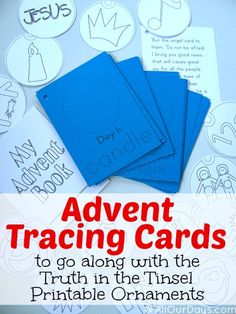Advent Tracing Cards to use with Truth in the Tinsel Printable Ornaments @ AllOurDays.com #truthinthetinsel #freeprintables #advent