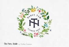 Watercolor Floral Wreath Monogram Logo Design for artisan boutique branding, e-commerce website logo, wordpress blog logo, boutique logo, photography branding, wedding logo, website branding design.