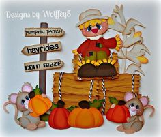ELITE4U Fall Scarecrow Mice Paper Piecing Premade Scrapbook Page Album WOLFFEY5   eBay