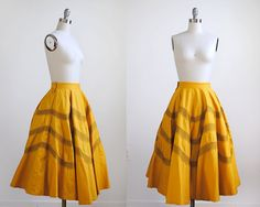 1950 gold skirt. 50's full skirt. yellow & black by stickylipgloss