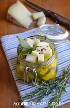 Food: Eleven More Gifts In A Jar  (7. Marinated pecorino cheese. Via Paprika)