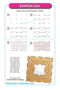 Egyptian Line by Hennie Brouwer Tangle Doodle, Tangle Art, Zen Doodle, Doodle Art, Zentangle Drawings, Doodles Zentangles, Doodle Drawings, Flower Drawings, Doodle Patterns