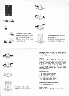 Instructions sheet from a vintage, Ravensburg Eames House of Cards.  #1950s