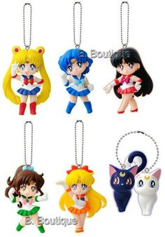 Anime Sailor Moon figure keychain strap x1 ONLY Mecury Venus Jupiter Mars