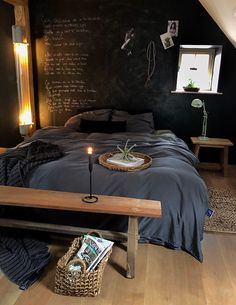 Bedroom #bedroom #slaapkamer #wonen #darkwall #wood #sleeping #interior #interieur #styling