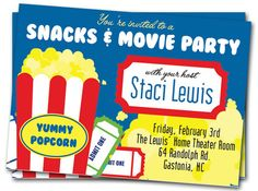 Movie Birthday Party Invitations Printable Girls by thepartystork, $11.00