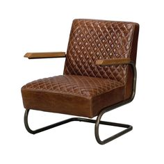 Sarreid Ltd This Beverly Armchair rocks! The curved frame will give you that impression and perhaps the opportunity. Top grain quilted leather, warm wood tones, and metal are a good combination. Leather Lounge, Leather Sofa, Quilted Leather, Brown Leather, Leather Furniture, New Living Room, Living Room Chairs, Aging Metal, Industrial Living