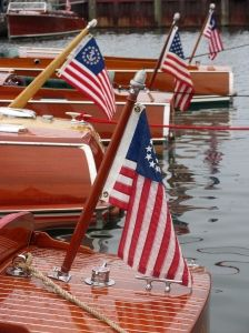Chris Craft woodys and colonial flags