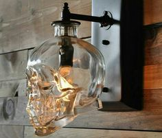 Wall sconces made from vodka bottles.