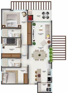 3d House Plans, Model House Plan, House Layout Plans, Small House Plans, House Layouts, Sims 4 House Design, Duplex House Design, Small House Design, Home Building Design