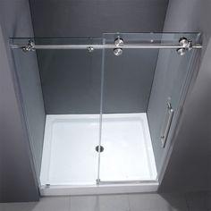 Choosing frameless shower doors brings an ultimate view for your interior. Frameless shower door conveys a modern feel, clean and… Framed Shower Door, Frameless Sliding Shower Doors, Glass Shower Doors, Sliding Doors, Small Showers, Hall Bathroom, Bathroom Small, Shower Enclosure, Shower Stalls