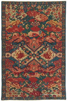 """Caucasian Seichur Kuba """"Guli Farang,"""" 4ft 3in x 6ft 6in, Early 19th Century. This brilliant rendition of the Seichur Kuba substyle of Caucasian rugs boasts the entirely one-in-the-world departure of design and masterful use of color found only in the earliest and finest 19th century Caucasian carpets."""