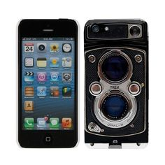 Apple iPhone 5 Black Twin Reflex Camera Hard Case Phone Cover (£5.28) ❤ liked on Polyvore featuring accessories and tech accessories