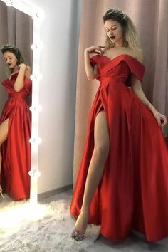 Buy Sexy Red Satin Long Side Slit Off Shoulder Prom Dress, Simple Evening Dress Shop short long ombre prom, homecoming, bridesmaid evening dresses at Couture Candy Cocktail party dresses, formal ball gowns in ombre colors. Long Wedding Dresses, Cheap Prom Dresses, Formal Dresses, Party Dresses, Red Satin Prom Dress, Dress Red, The Dress, Dress Long, Look Fashion