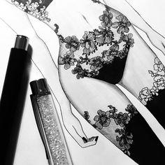 81 Likes three Feedback Little Elle Lingerie Littl Lingerie Illustration, Illustration Mode, Fashion Illustration Sketches, Fashion Design Sketches, Sketch Fashion, Landscape Illustration, Fashion Images, Fashion Art, Editorial Fashion