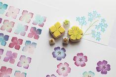 紫陽花とネモフィラの 多色押し 消しゴムはんこ カード付き by bf-ako 文房具・ステーショナリー はんこ