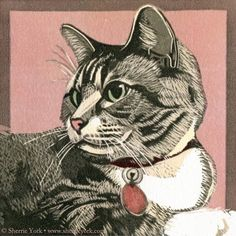"Sherrie York - Fine Art Printmaker Facebook. ""Bitsy,"" reduction linocut, 5"" x 5"". A good day for cat ears on pink, I think. Be strong, be safe, my friends."