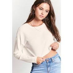 Forever21 Ribbed Knit Crop Top ($11) ❤ liked on Polyvore featuring tops, cream, ribbed knit crop top, sleeve top, cream crop top, drop shoulder tops and pink top
